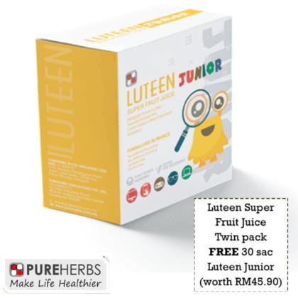 Pureherbs Luteen Super Fruit Juice Twin Pack Free Luteen Junior 30'S