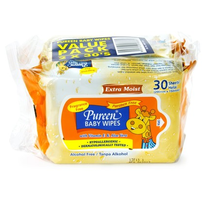 Pureen Baby Wipes Fragrance Free Value Pack 30's x 2