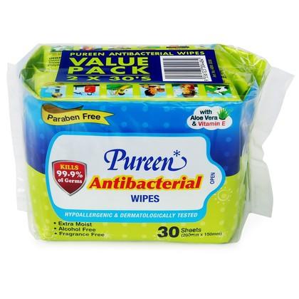 Pureen Antibacterial Wipes Value Pack 30's x 2