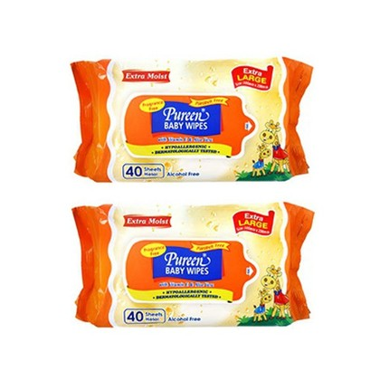Pureen Baby Wipes Value Pack 40's x 2