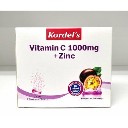 Kordel's Vitamin C 1000mg + Zinc Passion Fruit Flavour 10's x 3